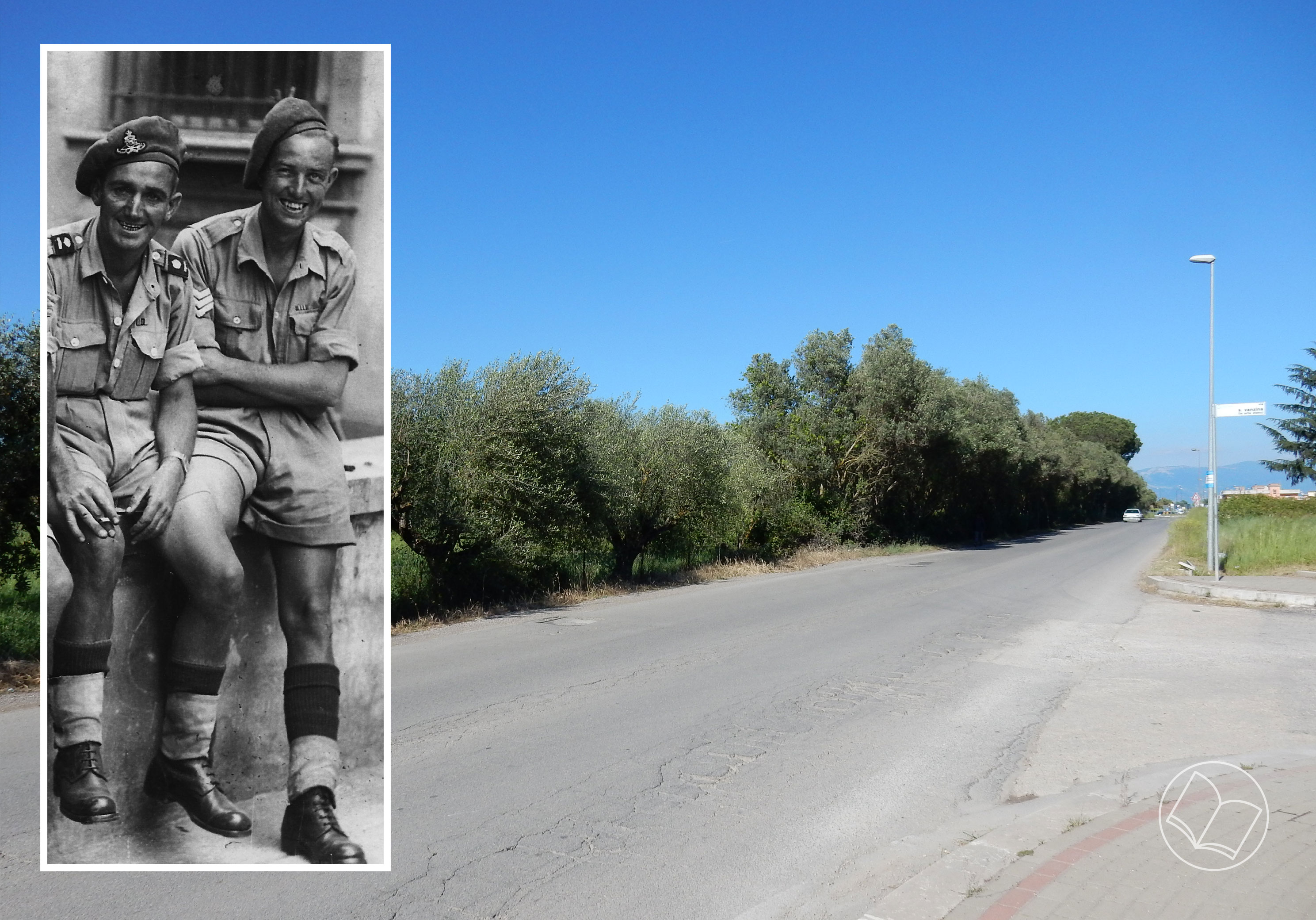 Sergeant Norman 'Butch' Pullin M.M. (right) and The Carroceto road today looking east from where the German tanks approached