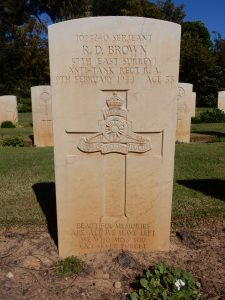 Sgt R.D. Brown is buried in the Anzio Beach Head War Cemetery