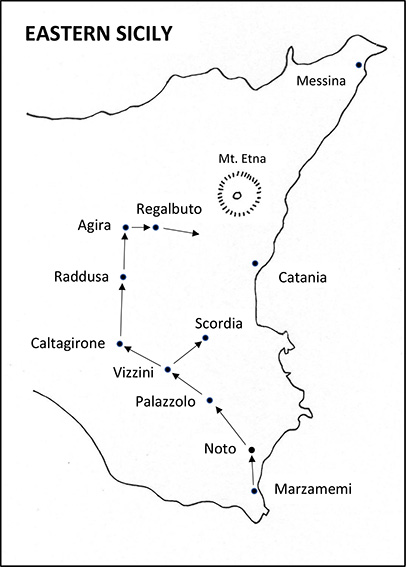 The Battery's route from Alamein to Pizzo